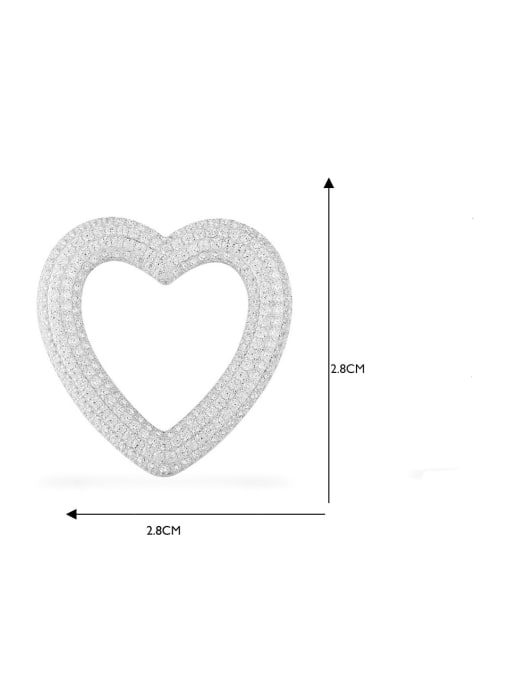 Platinum peach hearts Brass Cubic Zirconia Heart Statement Drop Earring