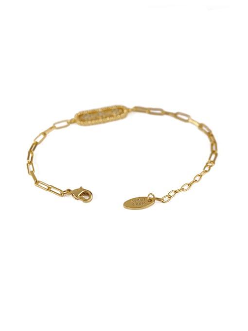 ACCA Brass Cubic Zirconia Geometric Vintage Link Bracelet 2