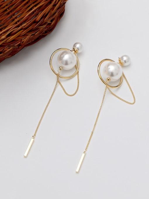 14K gold Brass Imitation Pearl Geometric Minimalist Threader Earring