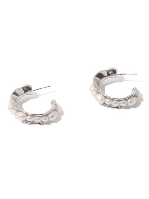 Platinum Brass Imitation Pearl Vintage  C shape Stud Earring