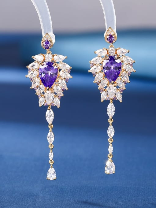 Purple blue Brass Cubic Zirconia Tassel Luxury Threader Earring