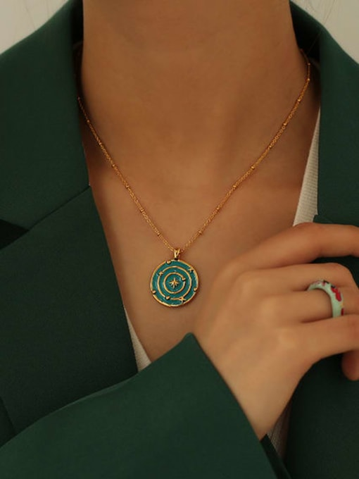 ACCA Brass Enamel Geometric Hip Hop Necklace 1