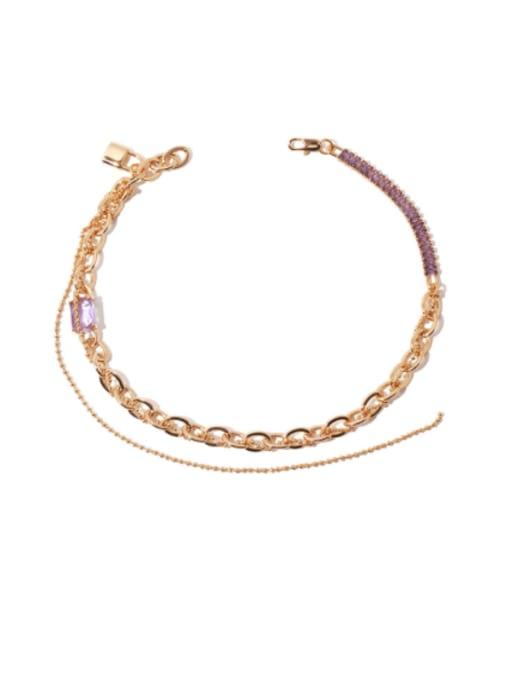 golden Brass Cubic Zirconia Geometric Vintage Multi Strand Necklace