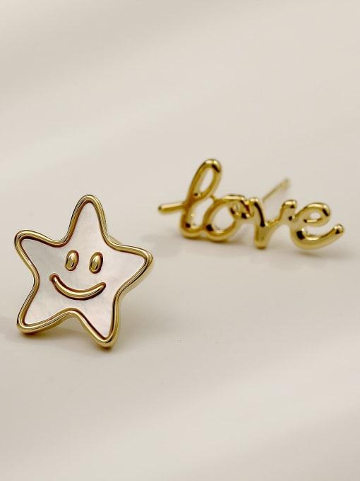 14k Gold Brass Enamel Cute Asymmetrical star letters  Stud Earring
