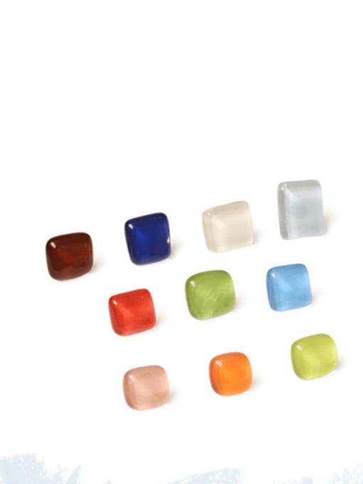 Translucent meat Alloy Glass Stone Enamel Geometric Minimalist Stud Earring