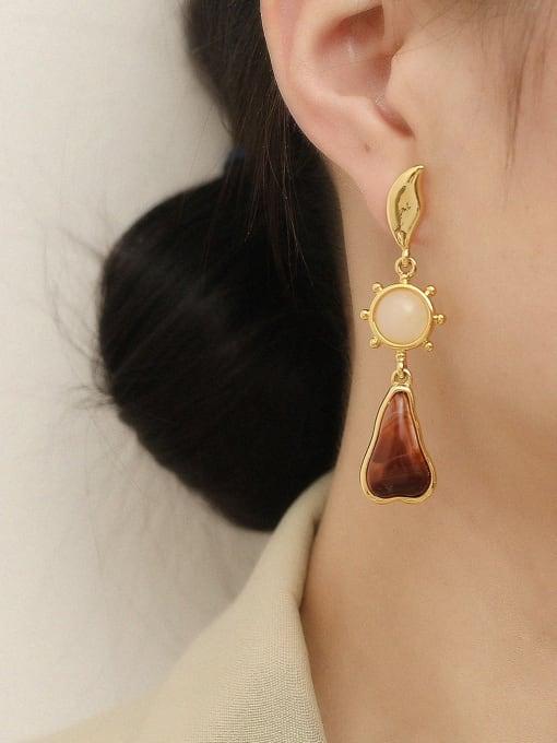 HYACINTH Brass Carnelian Water Drop Vintage Drop Earring 1