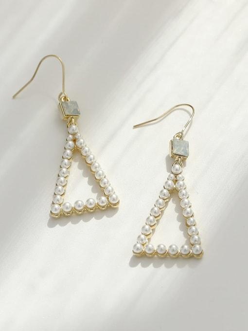 HYACINTH Brass Imitation Pearl Triangle Vintage Hook Earring 3