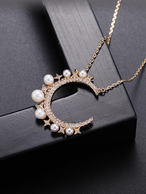 YILLIN Brass Imitation Pearl Moon Minimalist Necklace 1