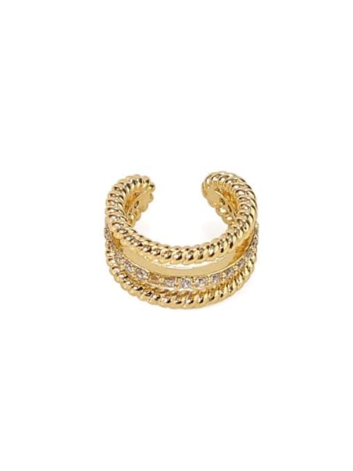 ACCA Brass Cubic Zirconia Geometric Minimalist Single  Clip Earring(Single) 3