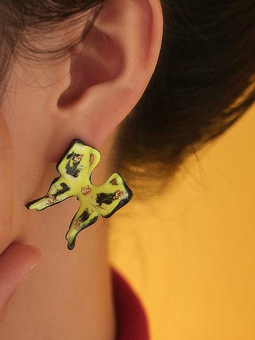 Five Color Brass Multi Color Enamel Butterfly Minimalist Stud Earring 1