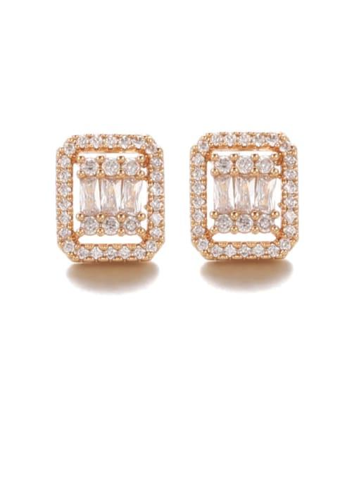 Square Earring Brass Cubic Zirconia Geometric Vintage Stud Earring