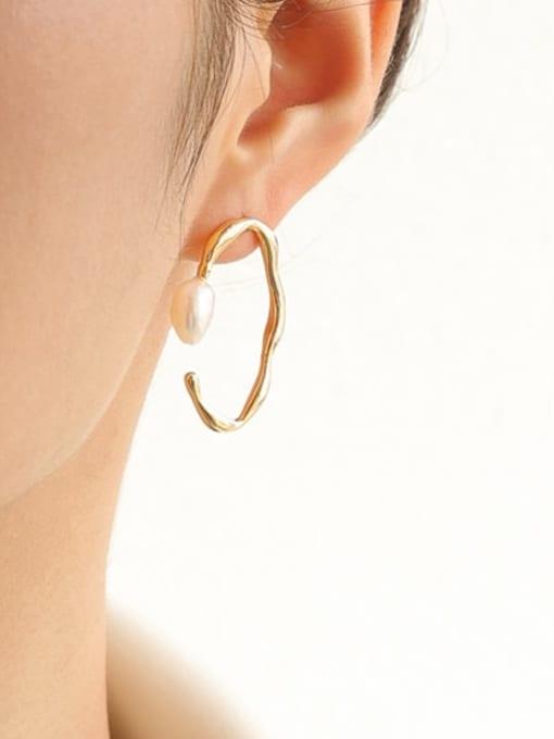 Five Color Brass Imitation Pearl Geometric Vintage Stud Earring 1