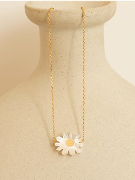 Five Color Brass Shell Flower Minimalist Necklace 2