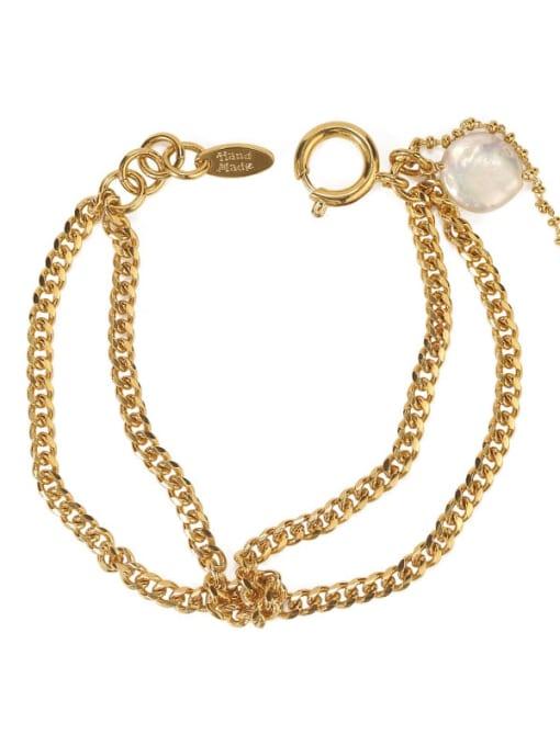 ACCA Brass Cats Eye Geometric Vintage Strand Bracelet 3
