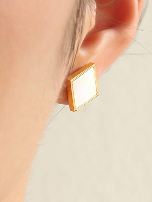 Five Color Brass Shell Geometric Minimalist Stud Earring 2