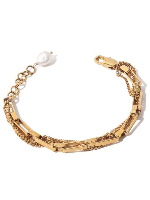 Double Bracelet Brass Imitation Pearl Geometric Vintage Link Bracelet
