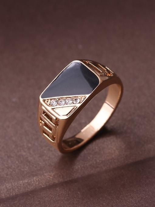 golden Zinc Alloy Enamel Triangle Vintage Band Ring