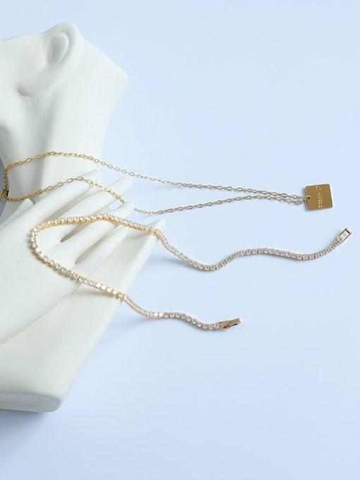 Five Color Brass Cubic Zirconia Geometric Vintage Necklace 2