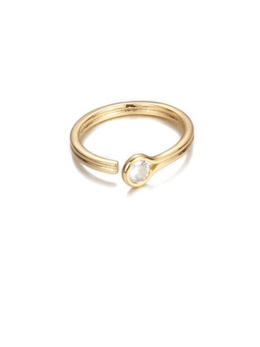 Transparent zircon Brass Rhinestone Rainbow Minimalist Band Ring
