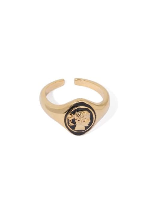 golden Brass Enamel Geometric Vintage Band Ring