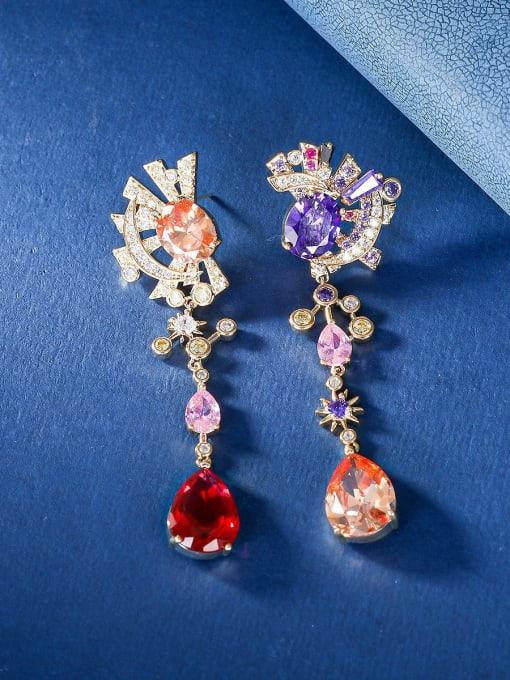 OUOU Brass Cubic Zirconia Star Luxury Drop Earring
