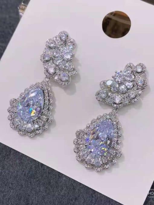 white Brass Cubic Zirconia Water Drop Luxury Drop Earring