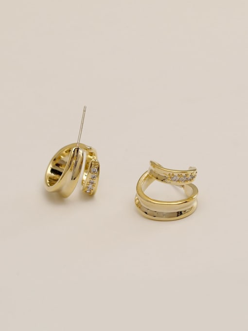 14k Gold (with drilling fund) Brass Irregular Vintage Stud Earring