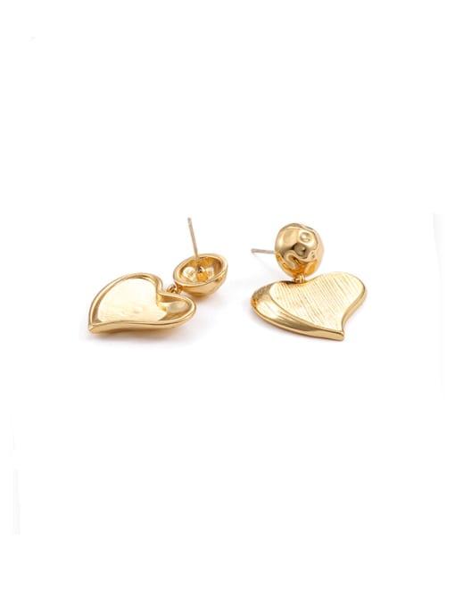golden Brass  Smooth Heart Hip Hop Drop Earring