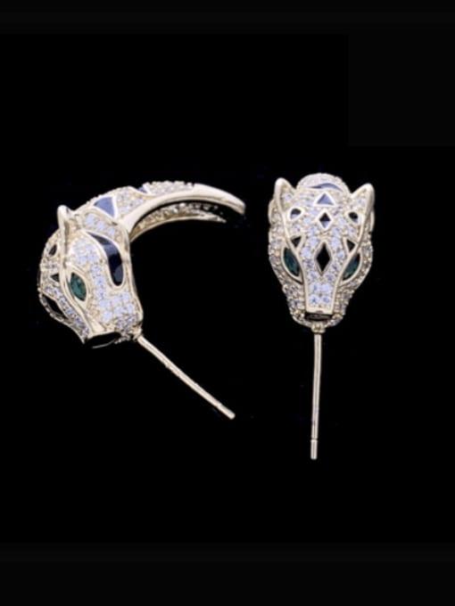 SUUTO Brass Cubic Zirconia Leopard Cute Stud Earring 0