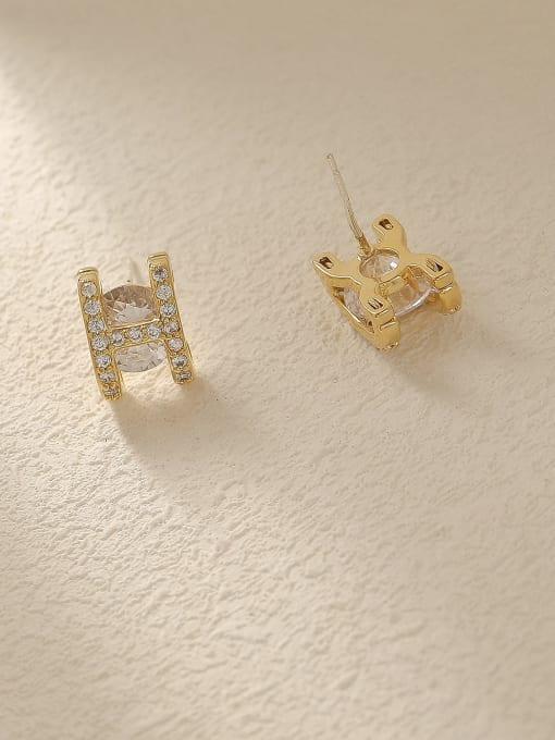 HYACINTH Brass Glass Stone Letter Minimalist Stud Trend Korean Fashion Earring 2