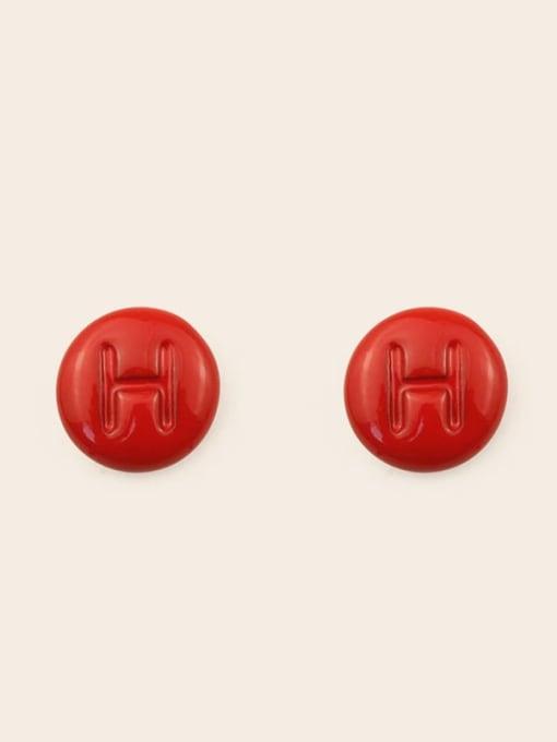 H Alloy Enamel Letter Minimalist Stud Earring