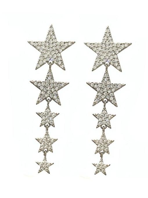 steel Brass Cubic Zirconia Star Ethnic Drop Earring