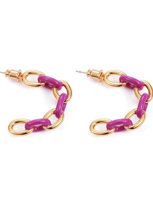 Purple Brass Enamel Geometric Hip Hop Stud Earring
