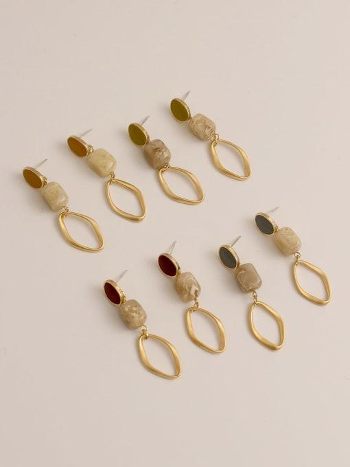 HYACINTH Brass Enamel Geometric Vintage Drop Earring