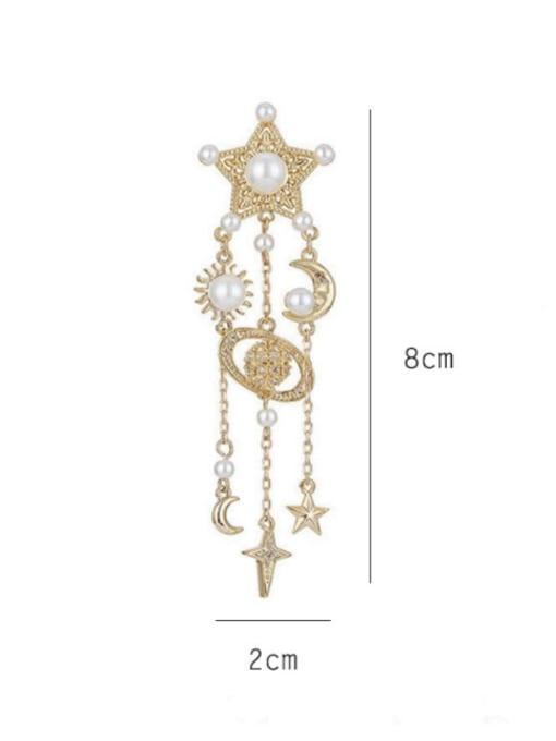 SUUTO Brass Cubic Zirconia Tassel Ethnic Drop Earring 3