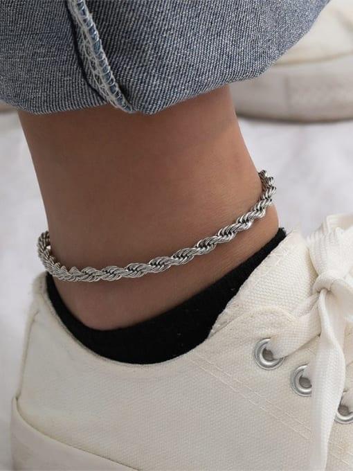 Desoto Stainless steel  Irregular Minimalist Anklet 3
