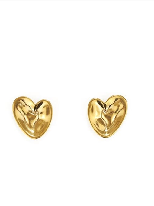 golden Brass Smooth Heart Vintage Stud Earring
