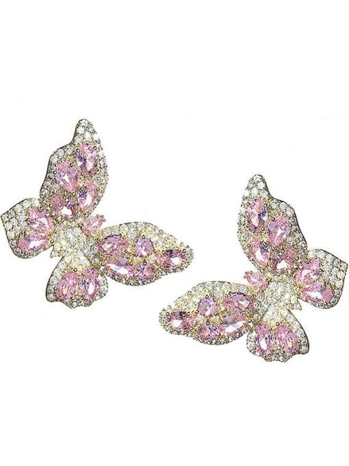 Pink Brass Cubic Zirconia Butterfly Trend Stud Earring