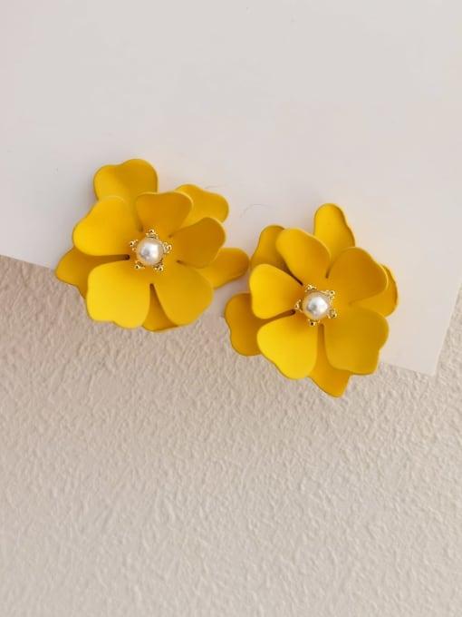 orange Brass Enamel Flower Vintage Stud Earring
