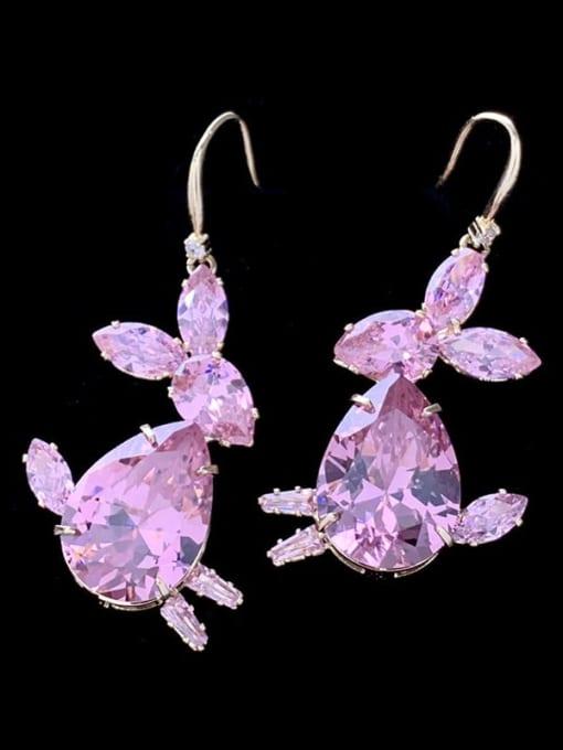 SUUTO Brass Cubic Zirconia Rabbit Luxury Hook Earring 0