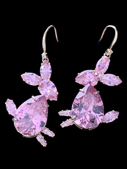 SUUTO Brass Cubic Zirconia Rabbit Luxury Hook Earring