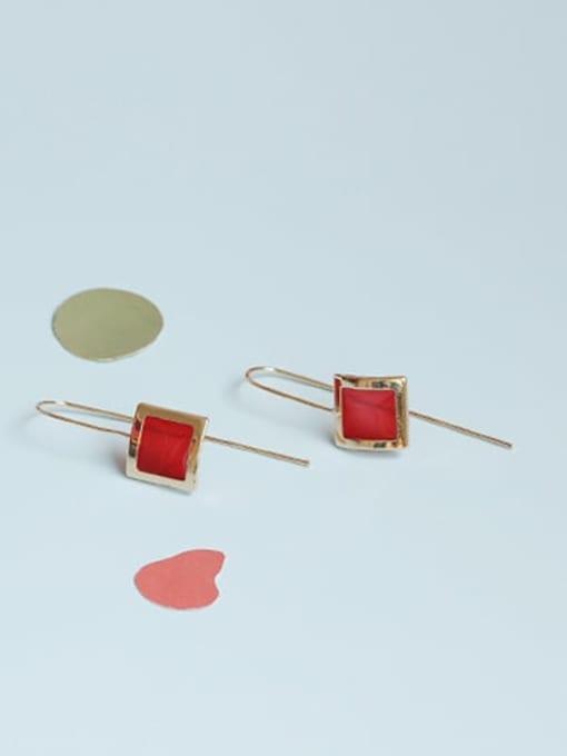 Five Color Alloy Enamel Geometric Vintage Hook Earring 1