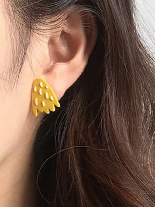 Five Color Alloy Enamel  Cute  Cartoon yellow star geometric wings Stud Earring 2