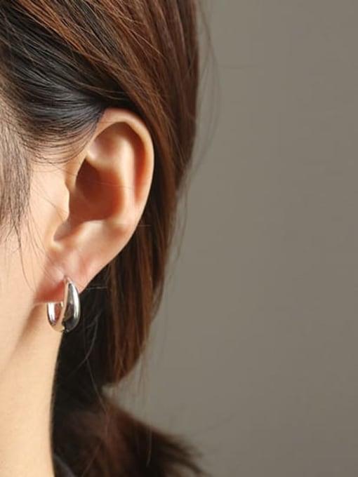 ACCA Brass Smooth Geometric Minimalist Huggie Earring 2