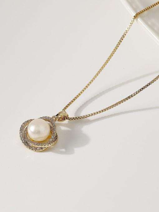 HYACINTH Brass Imitation Pearl Locket Minimalist Necklace 0