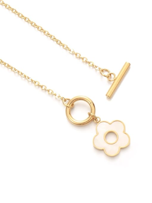 Five Color Brass Shell Flower Minimalist Necklace 3