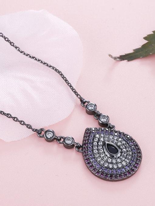 YILLIN Brass Cubic Zirconia Water Drop Vintage Necklace 1