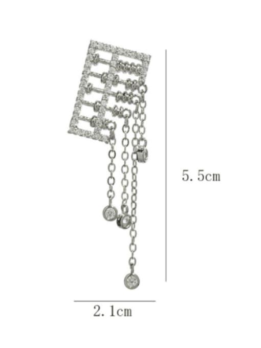 SUUTO Brass Cubic Zirconia Tassel Luxury Drop Earring 2