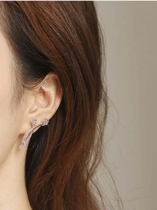 ACCA Brass Cubic Zirconia Star Dainty Stud Earring 1