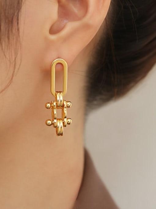 ACCA Brass Geometric Minimalist Drop Earring 1